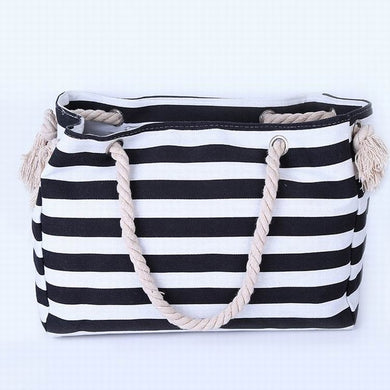 Thin Black and White Stripes Canvas Tote Bag