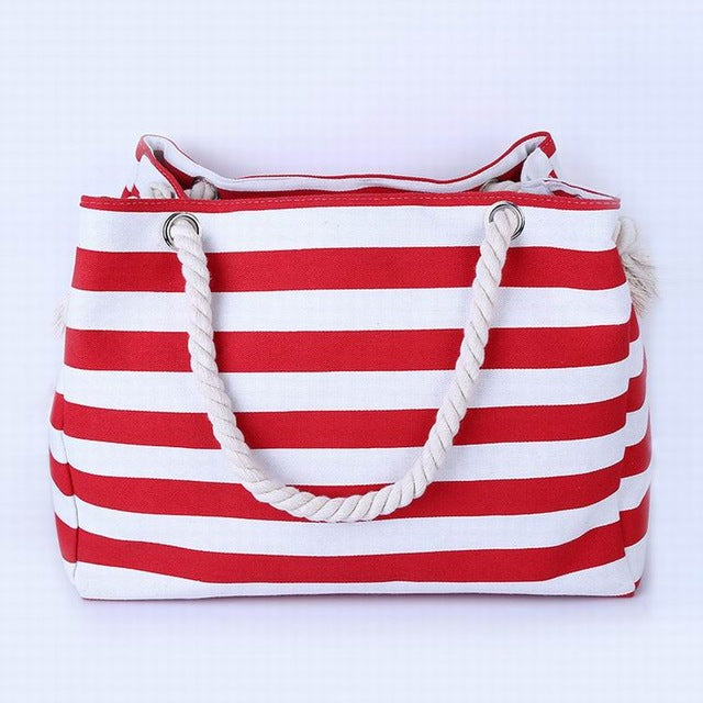 Thin Red and White Stripes Canvas Tote Bag