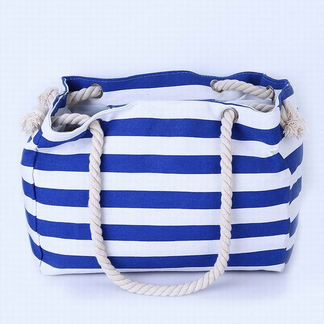 Thin Bright Blue and White Stripes Canvas Tote Bag