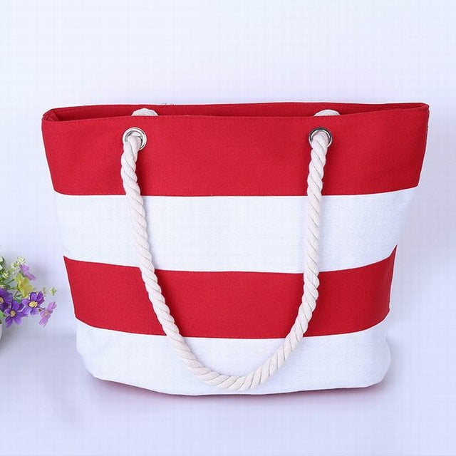 Wide Red and White Stripes Canvas Tote Bag