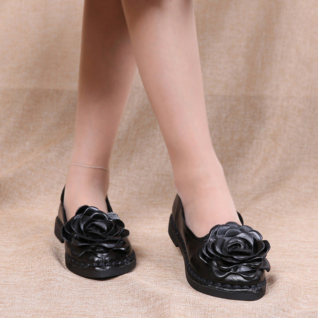 Leather Flower Black Shoes