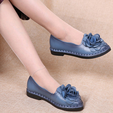 Leather Flower Blue Shoes