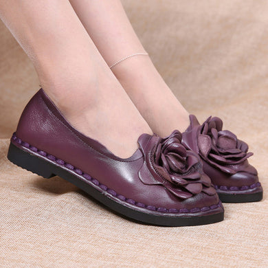 Leather Flower Purple Shoes