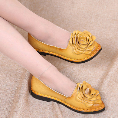 Leather Flower Yellow Shoes