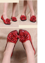 Leather Flower Red Shoes