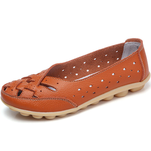 Orange Summer Breathable Lattice Nodule Shoes