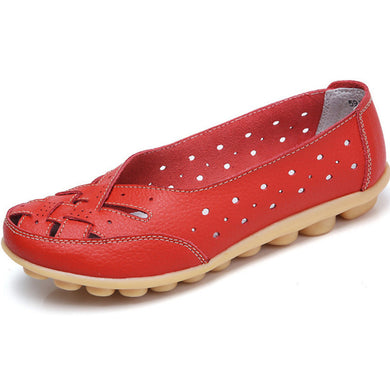 Red Summer Breathable Lattice Nodule Shoes