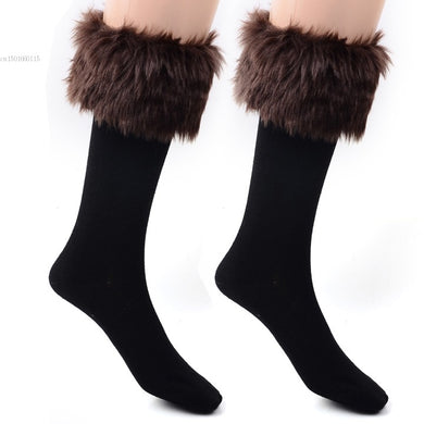 Faux Fur Leg Warmer Socks
