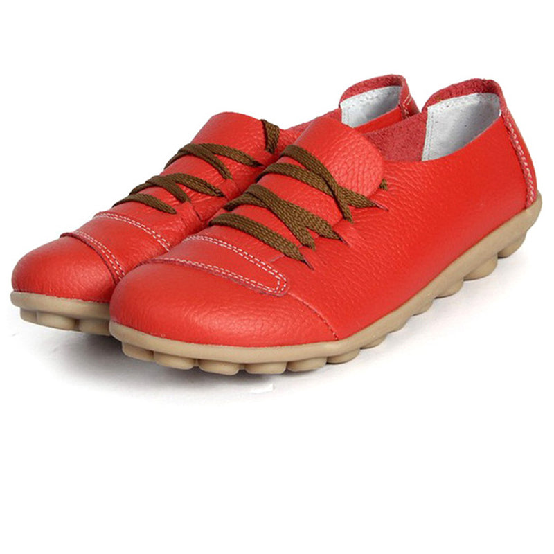 Red Lace Up Nodule Shoes