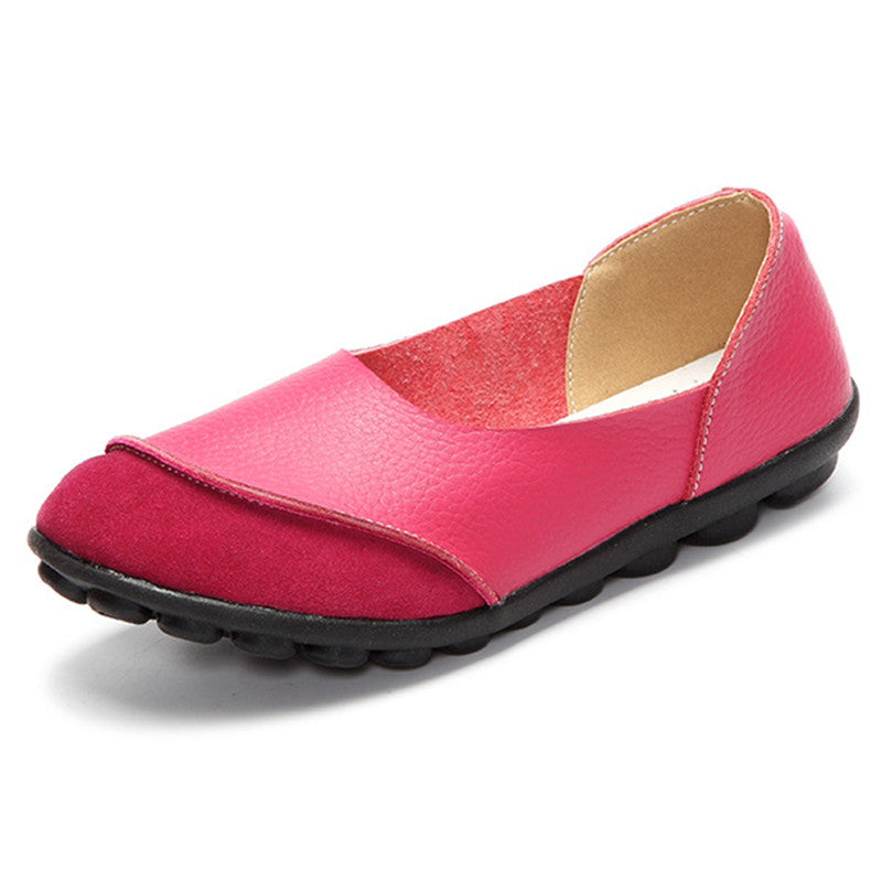 Pink Round Suede Toe with Black Nodule Sole