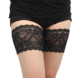 Black Thigh Anti-Chafing Bands with Small Flower Pattern