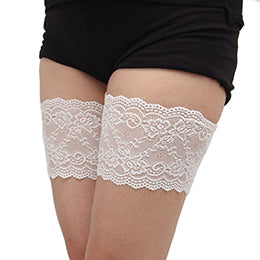 White Thigh Anti-Chafing Bands with Small Flower Pattern