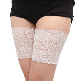 White Thigh Anti-Chafing Bands with Large Flower Pattern