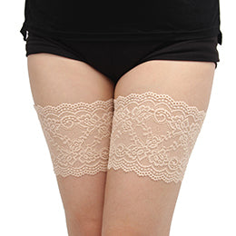 Beige Thigh Anti-Chafing Bands with Small Flower Pattern