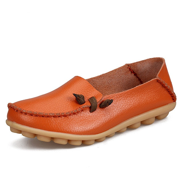 Orange Loafer Moccasins with Side Lace
