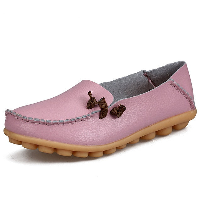 Pink Loafer Moccasins with Side Lace