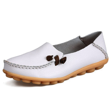 White Loafer Moccasins with Side Lace