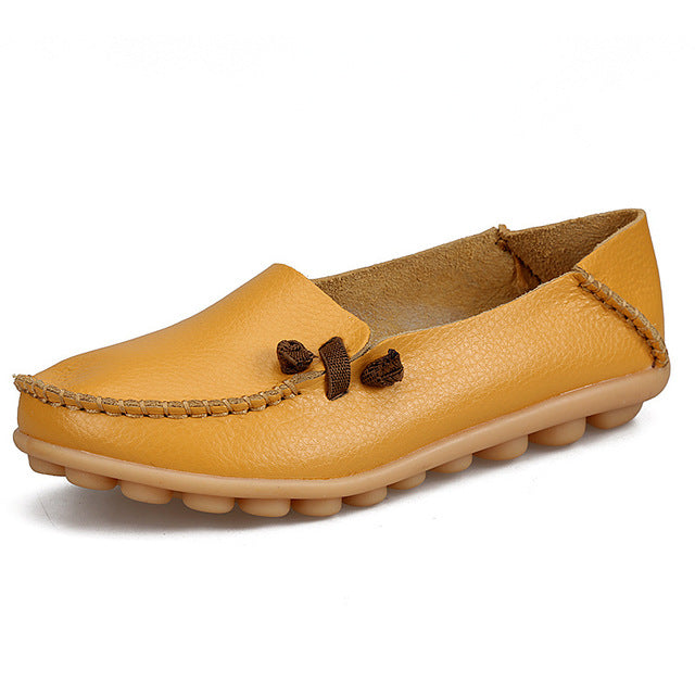 Yellow Loafer Moccasins with Side Lace