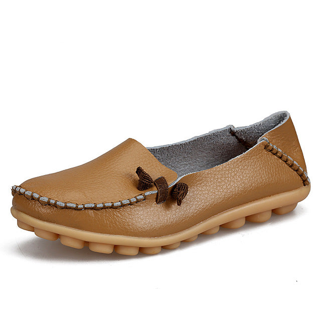 Khaki Loafer Moccasins with Side Lace