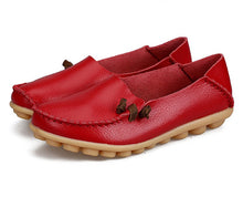 Red Loafer Moccasins with Side Lace
