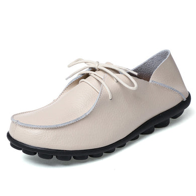 Creamy Beige Leather and Laces Slip-on Noduled Sole Shoes
