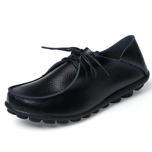 Definite Black Leather and Laces Slip-on Noduled Sole Shoes