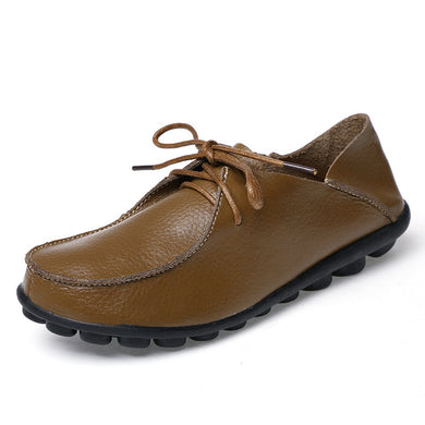 Khaki Brown Leather and Laces Slip-on Noduled Sole Shoes