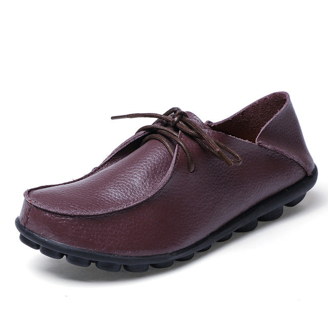 Roast Coffee Leather and Laces Slip-on Noduled Sole Shoes