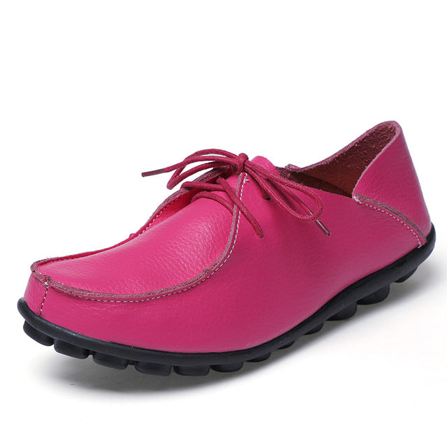 Hot Pink Leather and Laces Slip-on Noduled Sole Shoes