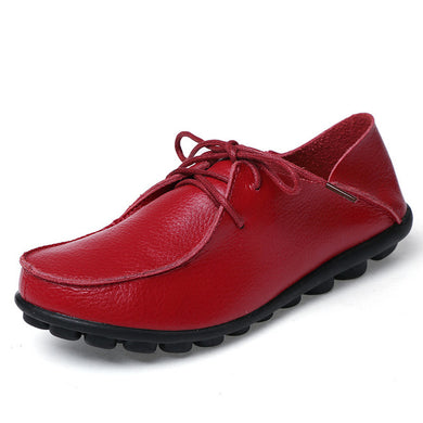 Bright Red Leather and Laces Slip-on Noduled Sole Shoes