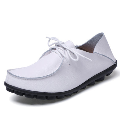Pure White Leather and Laces Slip-on Noduled Sole Shoes