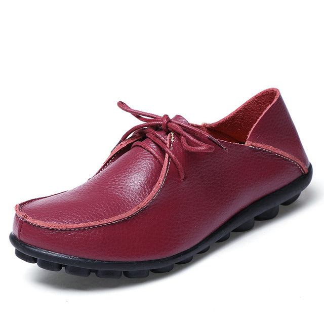Cherry Red Leather and Laces Slip-on Noduled Sole Shoes