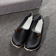 Black Breathable Loafers White Stitching Side Lace Nodules
