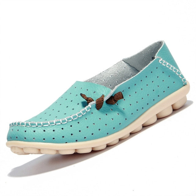 Aqua Green Breathable Loafers White Stitching Side Lace Nodules