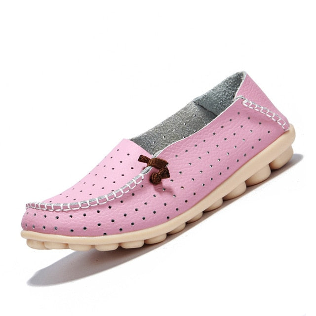 Pink Breathable Loafers White Stitching Side Lace Nodules