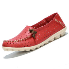 Red Breathable Loafers White Stitching Side Lace Nodules