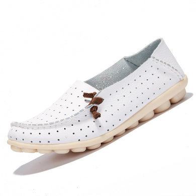 White Breathable Loafers White Stitching Side Lace Nodules