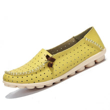 Yellow Breathable Loafers White Stitching Side Lace Nodules