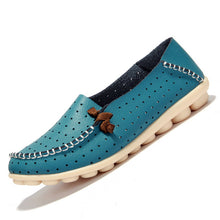 Sky Blue Breathable Loafers White Stitching Side Lace Nodules