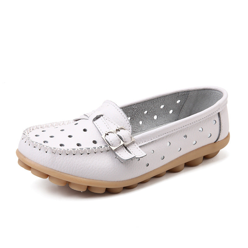 White Breathable Double Buckle Nodule Shoes