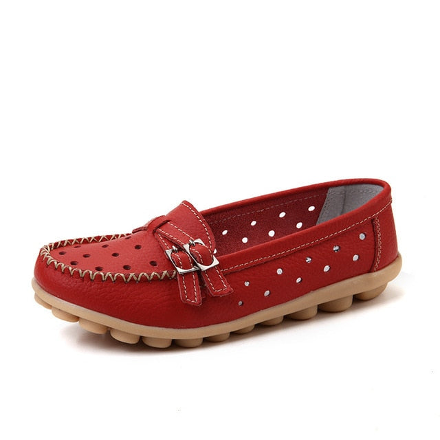 Red Breathable Double Buckle Nodule Shoes
