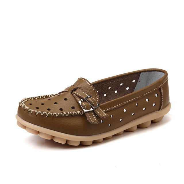 Khaki Breathable Double Buckle Nodule Shoes