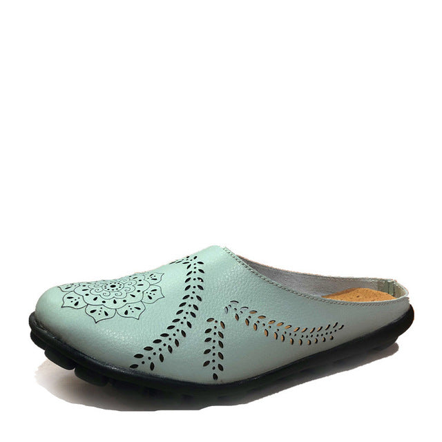 Moon Slipper Slip On Leather Nodule Shoes