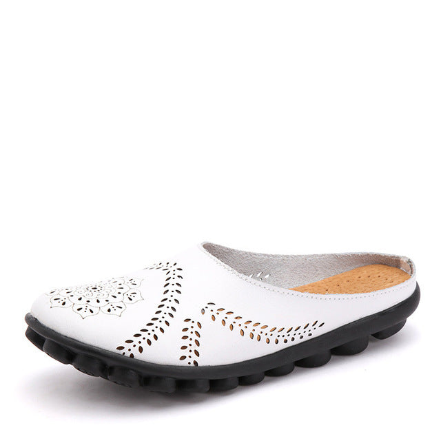 White Slipper Slip On Leather Nodule Shoes