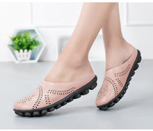 Pink Slipper Slip On Leather Nodule Shoes
