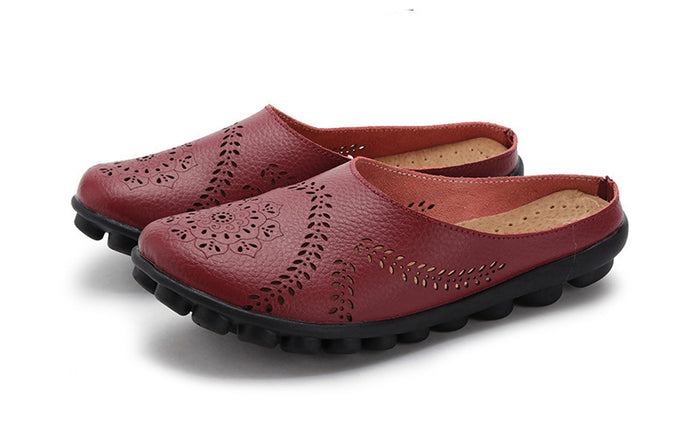 Red Wine Slipper Slip On Leather Nodule Shoes