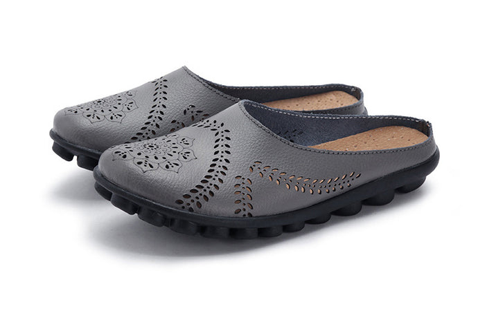 Grey Slipper Slip On Leather Nodule Shoes