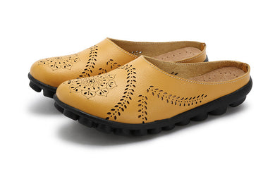 Yellow Slipper Slip On Leather Nodule Shoes