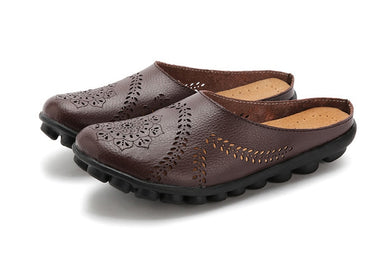 Brown Slipper Slip On Leather Nodule Shoes