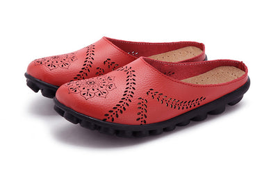 Red Slipper Slip On Leather Nodule Shoes
